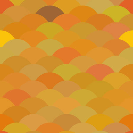 Seamless pattern scales, wave abstract simple Nature background with japanese yellow brown beige autumn circle pattern. Can be used for fabrics, wallpapers, websites. Vector illustration