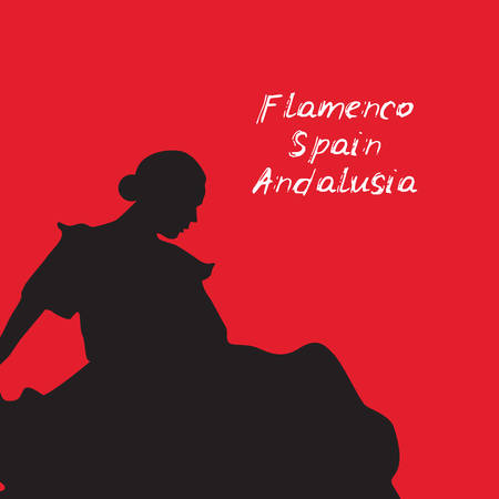 Woman in long dress stay in dancing pose. flamenco dancer, spanish. beautiful female profile black silhouette on red background. Vector illustration