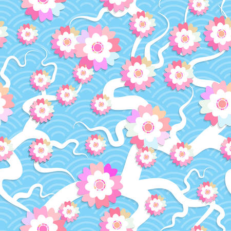 Sakura flowers seamless pattern Nature background with blossom branch of pink flowers. Cherry tree branches japanese wave circle pattern pastel colors on blue background. Vector illustration