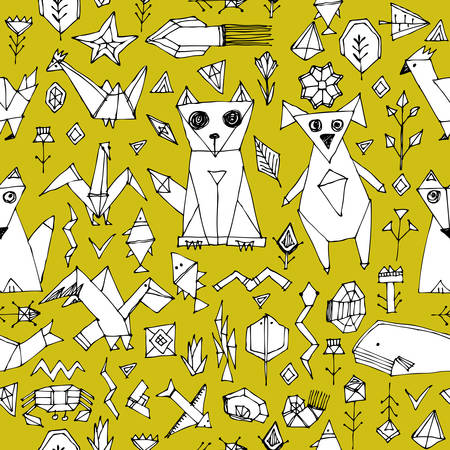 seamless pattern with Dog cat fox fish birds sea animals and plants, Black outline on Mustard yellow background, doodle decorative elements origami. trendy backdrop for site, blog, fabric. Vector illustration