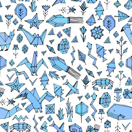 Hand drawn scandinavian seamless pattern with Marine animals and plants, black contours decorative contemporary elements Stylized origami. Blue geometric print, trendy backdrop. Vector illustration
