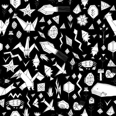 Spring Summer geometric seamless pattern with animals and plants, black contours decorative contemporary elements Stylized origami. print, trendy backdrop background for site, blog, fabric. Vector illustration