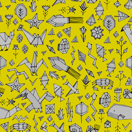 geometric seamless pattern with Marine animals and plants, black contours decorative contemporary elements Stylized origami. Mustard yellow gray geometric print, trendy backdrop. Vector illustration