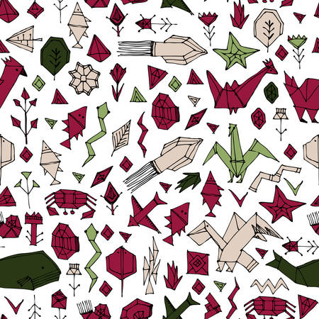 geometric seamless pattern with Marine animals and plants, black contours decorative contemporary elements Stylized origami. red maroon olive Green pink beige geometric print, trendy backdrop. Vector illustration