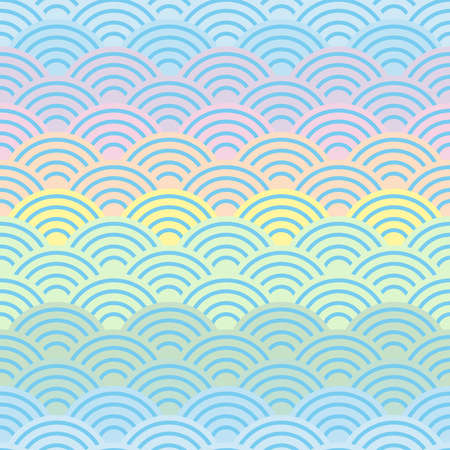 rainbow seamless pattern abstract scales simple Spring Nature background with japanese wave circle pattern purple pink yellow blue green pastel colors light background. Vector illustration