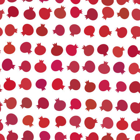 Garnet simple seamless pattern Red claret fruit isolated on white background. Vector illustration