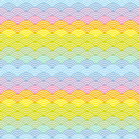 Seigaiha or seigainami literally means wave of the sea. rainbow seamless pattern abstract scales simple Nature background japanese circle purple pink yellow blue green bright colors. Vector illustration