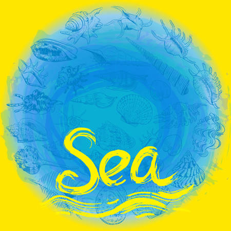 symbol of the sea ocean trendy print Round composition Beige sand. Summer sea shells, molluscs on blue yellow abstract background. Circle wreath card banner design with space for text. Vector illustration