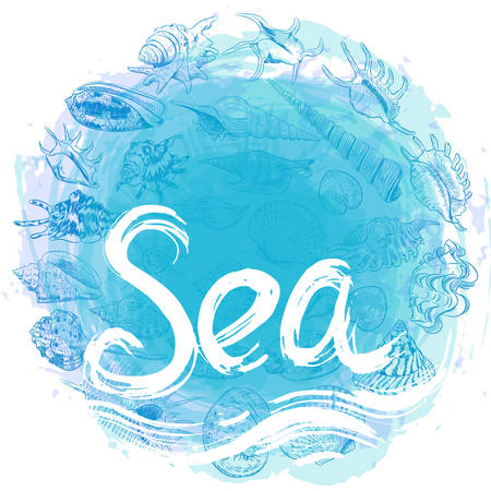 symbol of the sea ocean trendy print Round composition. Summer sea shells, molluscs on blue abstract background. Circle wreath card banner design with space for text. Vector illustration