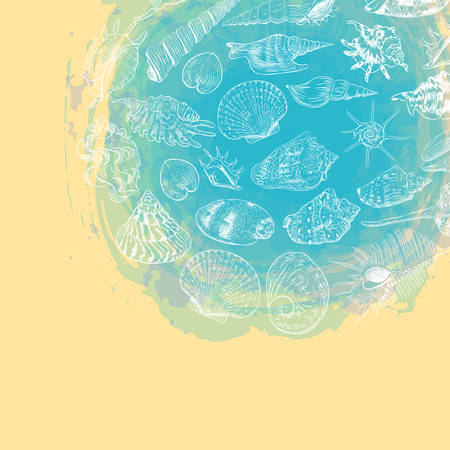 symbol of the ocean trendy print Round composition Beige sand. Summer sea shells, molluscs on blue abstract background. Circle wreath card banner design with space for text. Vector illustration