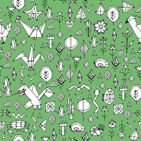 Spring Summer geometric seamless pattern with animals Pelican birds gulls and plants, black contours decorative contemporary elements Stylized origami. Green white print, trendy backdrop. Vector illustration Illustration