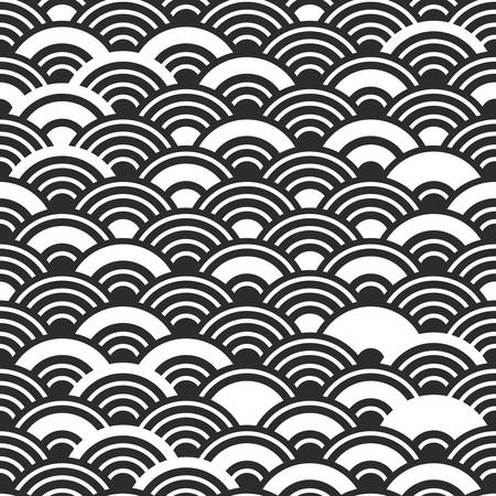 Seigaiha or seigainami literally means wave of the sea. seamless pattern abstract scales simple Nature background with japanese circle white black colors. Vector illustration