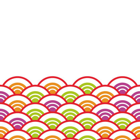 Seigaiha or seigainami literally means wave of the sea. card banner design for text abstract scales simple Nature background with japanese circle pattern white green orange red lilac colors. Vector illustration