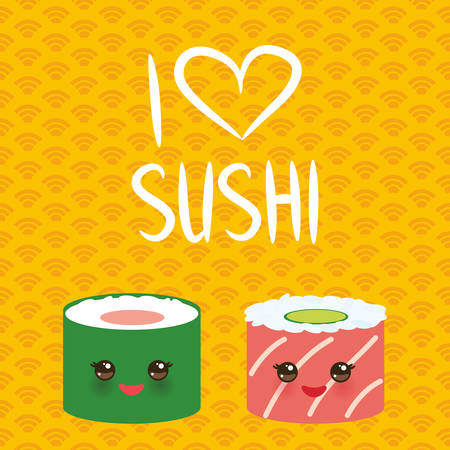 I love sushi. Kawaii funny sushi set with pink cheeks and big eyes, emoji. orange yellow background with japanese circle pattern. Vector illustration