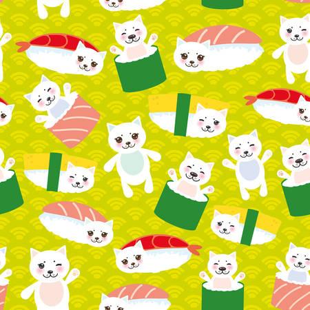 J'aime les sushis. Kawaii drôle Maguro Toro Sushi avec des joues roses et de grands yeux, emoji. Fond bleu bébé avec motif de cercle japonais. Illustration vectorielle