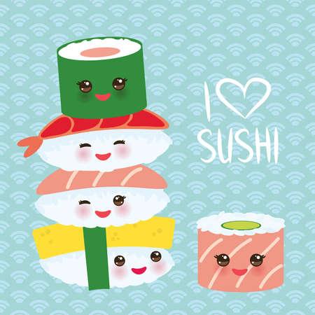 I love sushi. Kawaii funny sushi set with pink cheeks and big eyes, emoji. Blue background with japanese circle pattern. Vector illustration