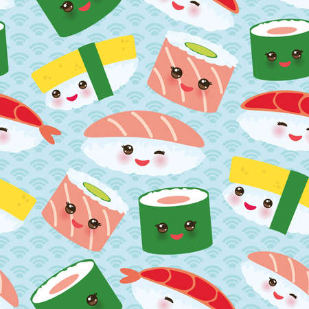 seamless pattern Kawaii funny sushi rolls set with pink cheeks and big eyes, emoji Baby blue background with japanese circle pattern. Vector illustration