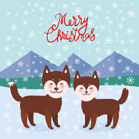Merry Christmas New Year's card design Kawaii funny brown husky dog, face with large eyes and pink cheeks, boy and girl, mountain landscape snowflakes background. Vector illustration Ilustración de vector