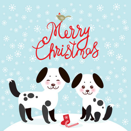 Merry Christmas New Year's card design Kawaii funny white black dog, face with pink cheeks, on blue background. Vector illustration