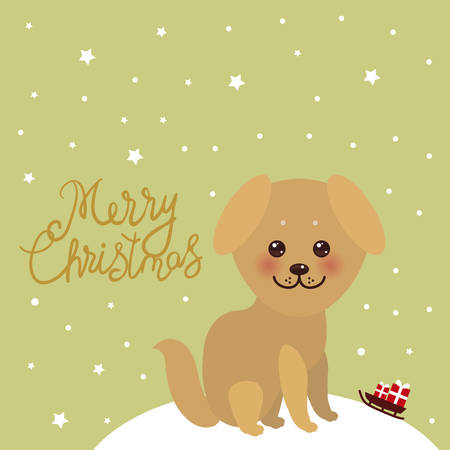Merry Christmas New Year's card design Kawaii funny golden beige dog, face with large eyes and pink cheeks. white snow christmas decorations, stars, sleigh gifts on green sky background. Vector illustration