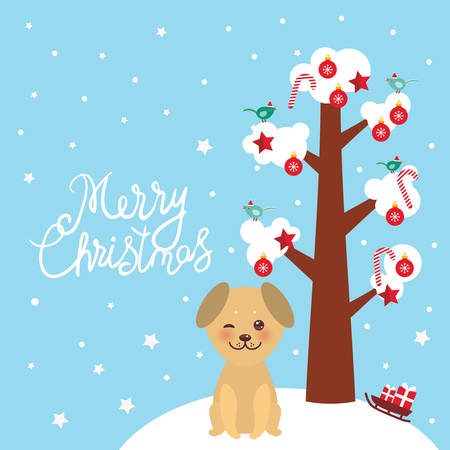 Merry Christmas New Year's card design Kawaii golden beige dog tree with white snow on the branches, birds and red christmas decorations. Candy balls stars, sleigh gifts on blue sky background. Vector illustration