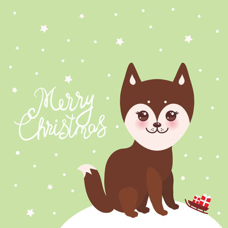 Merry Christmas New Year's card design funny brown husky dog, Kawaii face with large eyes and pink cheeks, light green background. Vector illustration