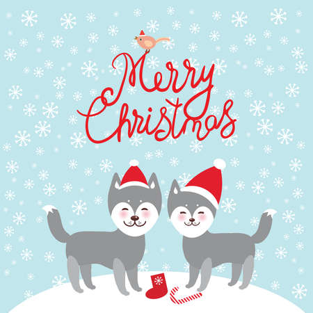 Merry Christmas New Year's card design funny gray husky dog in red hat, Kawaii face with large eyes and pink cheeks, boy and girl and white snowflakes on blue background. Vector illustration