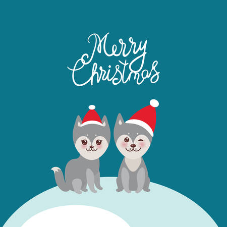Merry Christmas New Year's card design funny gray husky dog in red hat, Kawaii face with large eyes and pink cheeks, boy and girl and white snow on blue background. Vector illustration Vettoriali