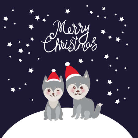 Merry Christmas New Year's card design funny gray husky dog in red hat, Kawaii face with large eyes and pink cheeks, boy and girl on darck blue background. Vector illustration Vettoriali