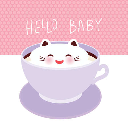 Hello baby. Cute Kawai cat in lilac cup of froth art coffee, isolated on white pink polka dot wall background. Latte Art 3D. milk foam top on the cup of hot coffee or chocolate. Vector illustration