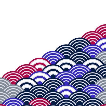 wave blue grey black brown colors card banner design for text abstract scales simple Nature background with japanese circle pattern. Vector illustration