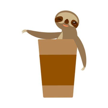 funny and cute smiling Three-toed sloth with a cup of coffee on white background. Vector illustration