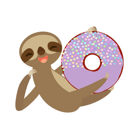 funny and cute smiling Three-toed sloth with donut with purple icing and sprinkles on white background. Vector illustration