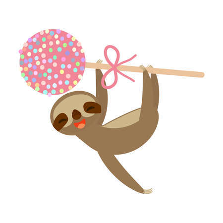 funny and cute smiling Three-toed sloth with pink cake pops on white background. Vector illustration