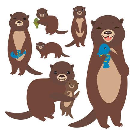Accumulazione marrone divertente della lontra su priorità bassa bianca. Kawaii. Illustrazione vettoriale
