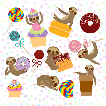 funny and cute smiling Three-toed sloth collection with pink cake pops, donut, lollipop, coffee, waffle, macaroon, sprinkles on white background. Vector illustration