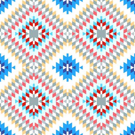 Naadloze patroon Turks tapijt roze blauw wit rood grijs. Kleurrijk patchwork mozaïek oosters kilim tapijt met traditioneel folk geometrisch ornament. Tribale stijl. vector illustratie