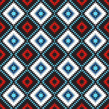 Seamless pattern Turkish carpet blue white red black. Colorful patchwork mosaic oriental kilim rug with traditional folk geometric ornament. Tribal style. Vector illustration