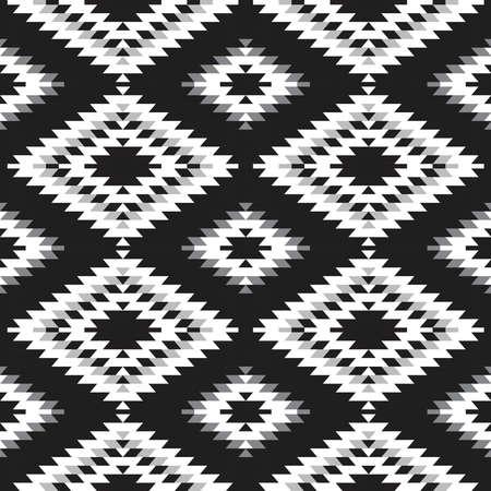 Seamless pattern Turkish carpet white gray black. Patchwork mosaic oriental kilim rug with traditional folk geometric ornament. Tribal style. Vector illustration