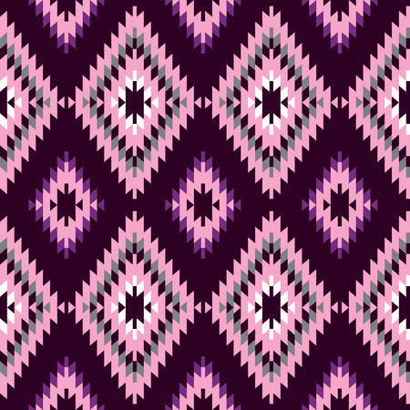 Seamless pattern Turkish carpet dark purple pink claret burgundy. Colorful patchwork mosaic oriental kilim rug with traditional folk geometric ornament. Tribal style. Vector illustration