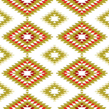 Seamless pattern Turkish carpet yellow beige orange khaki brown. Patchwork mosaic oriental kilim rug with traditional folk geometric ornament. Tribal style. Vector illustration