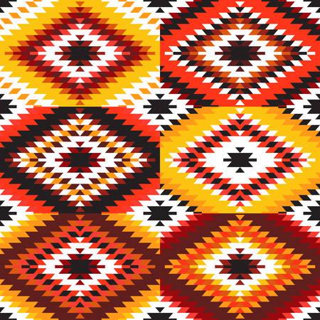 Seamless pattern Turkish carpet white red orange claret burgundy. Colorful patchwork mosaic oriental kilim rug with traditional folk geometric ornament. Tribal style. Vector illustration Stok Fotoğraf - 109977890