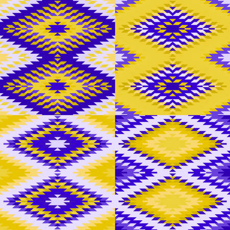 Seamless pattern Turkish carpet yellow ultraviolet purple. Colorful patchwork mosaic oriental kilim rug with traditional folk geometric ornament. Tribal style. Vector illustration Stock Illustratie