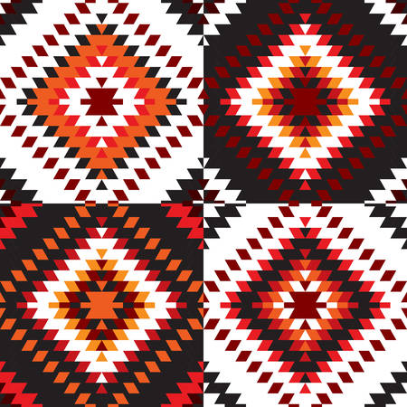 Seamless pattern Turkish carpet white red black. Patchwork mosaic oriental kilim rug with traditional folk geometric ornament. Tribal style. Vector illustration