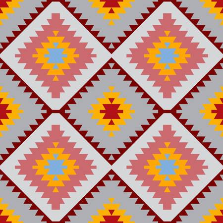 Seamless pattern Turkish carpet blue gray pink orange. Patchwork mosaic oriental kilim rug with traditional folk geometric ornament. Tribal style. Vector illustration