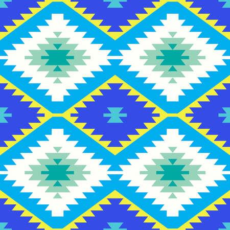 Naadloze patroon Turks tapijt geel blauw groen. Patchwork mozaïek oosters kelim tapijt met traditionele folk geometrische versiering. Tribale stijl. Vector illustratie Vector Illustratie