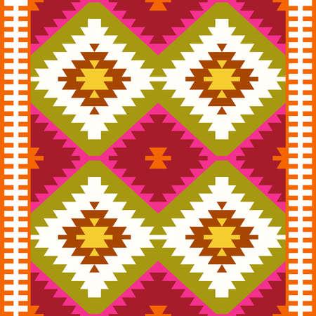 Naadloze patroon Turks tapijt wit rood groen olijf kaki. Kleurrijk patchwork mozaïek oosters kelim tapijt met traditionele folk geometrische versiering. Tribale stijl. Vector illustratie