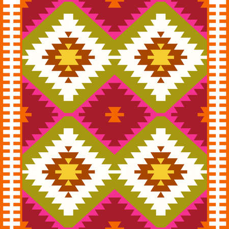 Seamless pattern Turkish carpet white red green olive khaki. Colorful patchwork mosaic oriental kilim rug with traditional folk geometric ornament. Tribal style. Vector illustration Illustration