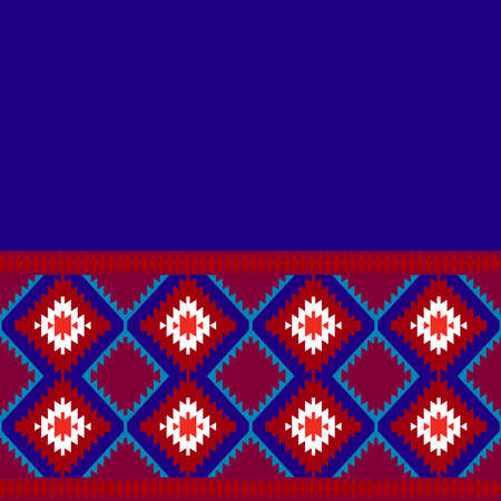 Card pattern in tribal style Turkish carpet navy blue red claret burgundy. Colorful patchwork mosaic oriental kilim rug with traditional folk geometric ornament. Vector illustration