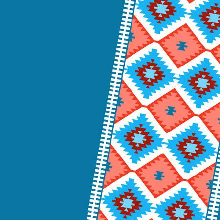 Modello di carta in stile tribale Tappeto turco blu navy rosso bordeaux bordeaux. Tappeto kilim orientale in mosaico colorato patchwork con ornamento geometrico folk tradizionale. Illustrazione vettoriale